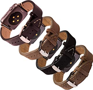 Deepra Vintage Edition - Set of Four Vintage Style Leather Bands Compatible with Apple Watch 42mm or 44mm