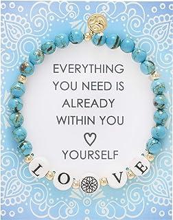 BONALUNA My Wish Love Mantra 6mm Blue Turquoise Color Stone Meditation & Healing Bracelets for Women