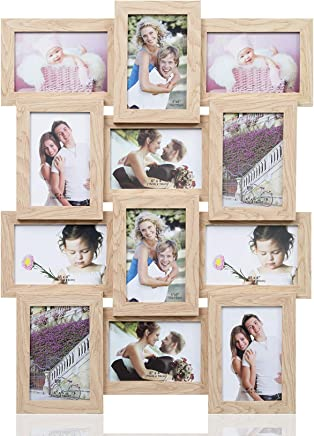 ARPAN Multi Aperture Wooden Holds 12 x 6 x4 Photos, Collage Picture Wall-Mounted Frame, Wood, Natural, 59 cm x 47 cm x 3 cm