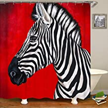 SARA NELL Zebra Red Shower Curtain,Waterproof Polyester Fabric,Extra Long Bath Curtains Bathroom Decorations,72X72 Inches ...
