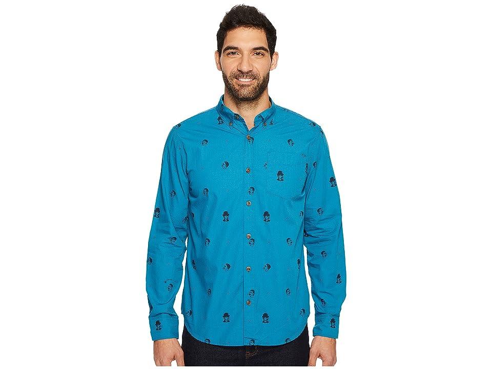 Prana Broderick Slim Long Sleeve Shirt (River Rock Blue) Men