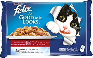 Purina Felix As Good as it Looks Beef & Chicken Wet Cat Food Pouch 100g-(4 Pouches)