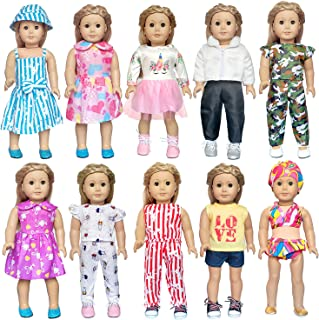 ARTST 18 inch Doll Clothes and Accessories 10 Set of American Girl Doll Clothes for 18 Inch American Girl Dolls, My Life D...