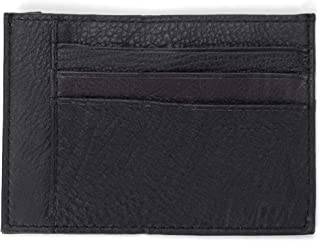 Two Sided Slim Midnight Black 5 x 3.5 Grained Leather Classic Card Case Wallet