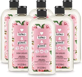 Love Home and Planet Dish Soap Rose Petal & Murumuru, 24 oz, 6 Pack