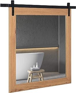 HOMCOM Espejo de Baño Montado en la Pared con Diseño de Puerta Corrediza de Granero para Aseo Maquillaje y Afeitado 84x2x7...