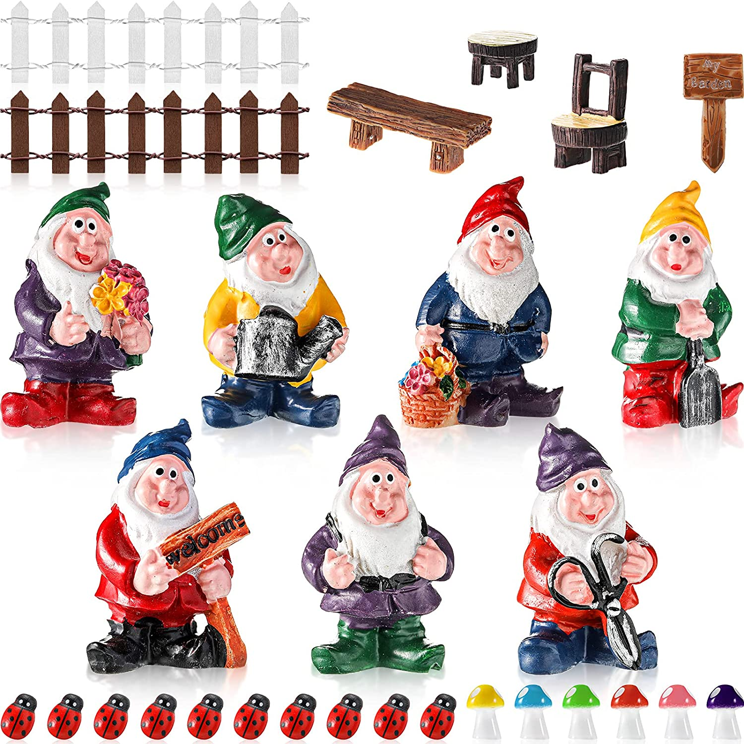 Challenge the lowest price of Japan Skylety 28 Pieces Max 61% OFF Fairy Garden Miniature Gnome Accessories Figur