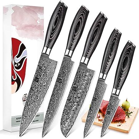 XINZUO 5pc Ensemble Couteaux Cuisine Damas Acier Japonais Couteau de Chef Santoku Couteau à Graver Couteau Tout Usage Couteaux à Fruits avec Pakkawood Poignée - Ya Série