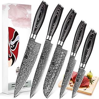 XINZUO 5pc Ensemble Couteaux Cuisine Damas Acier Japonais Couteau de Chef Santoku Couteau à Graver Couteau Tout Usage Cout...