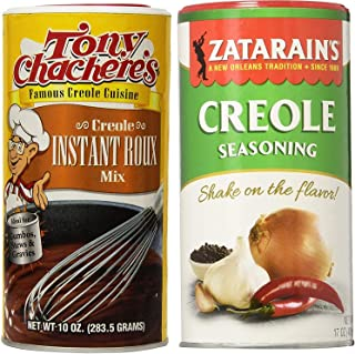 Cajun Creole Cooking Gift Bundle - 1 each of Zatarain's Creole Seasoning 17 Ounce and Tony Chachere's Creole Instant Roux Mix 10 Ounce