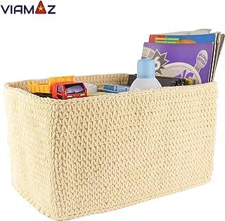 VIAMAZ Basket Storage - Multi-Purpose Storage Bin for Diapers, Toy, Office, Coffee Shop - Organizer Basket Rectangular, Office Box, Baby Storage Hand Knit by Vietnamese Artisan - Foldable, Washable