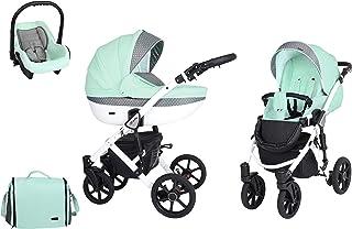 SaintBaby Passeggino Milla White 2in1 3in1 Isofix seggiolino per bambini passeggino combi buggy Mint 014 3in1 con Ovetto