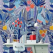 Removable Peel 'n Stick Wallpaper, Self-Adhesive Wall Mural, Watercolor Pink Floral Pattern, Nursery Room Decor • Tropical Blue Flowers (24