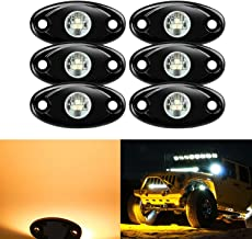 6 Pods LED Rock Lights, Ampper Waterproof LED Neon Underglow Light for Car Truck ATV UTV SUV Jeep Offroad Boat Underbody Glow Trail Rig Lamp (Yellow)