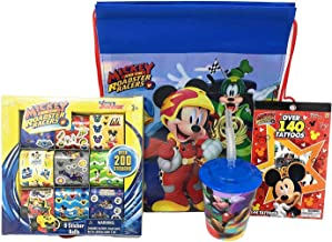 Disney Drawstring Backpack, Tumbler Cup With Straw, 200 Stickers, and Temporary Tattoos For Kids, Mickey Mouse Clubhouse Sinch Sack Bag and Disney Kids Toys