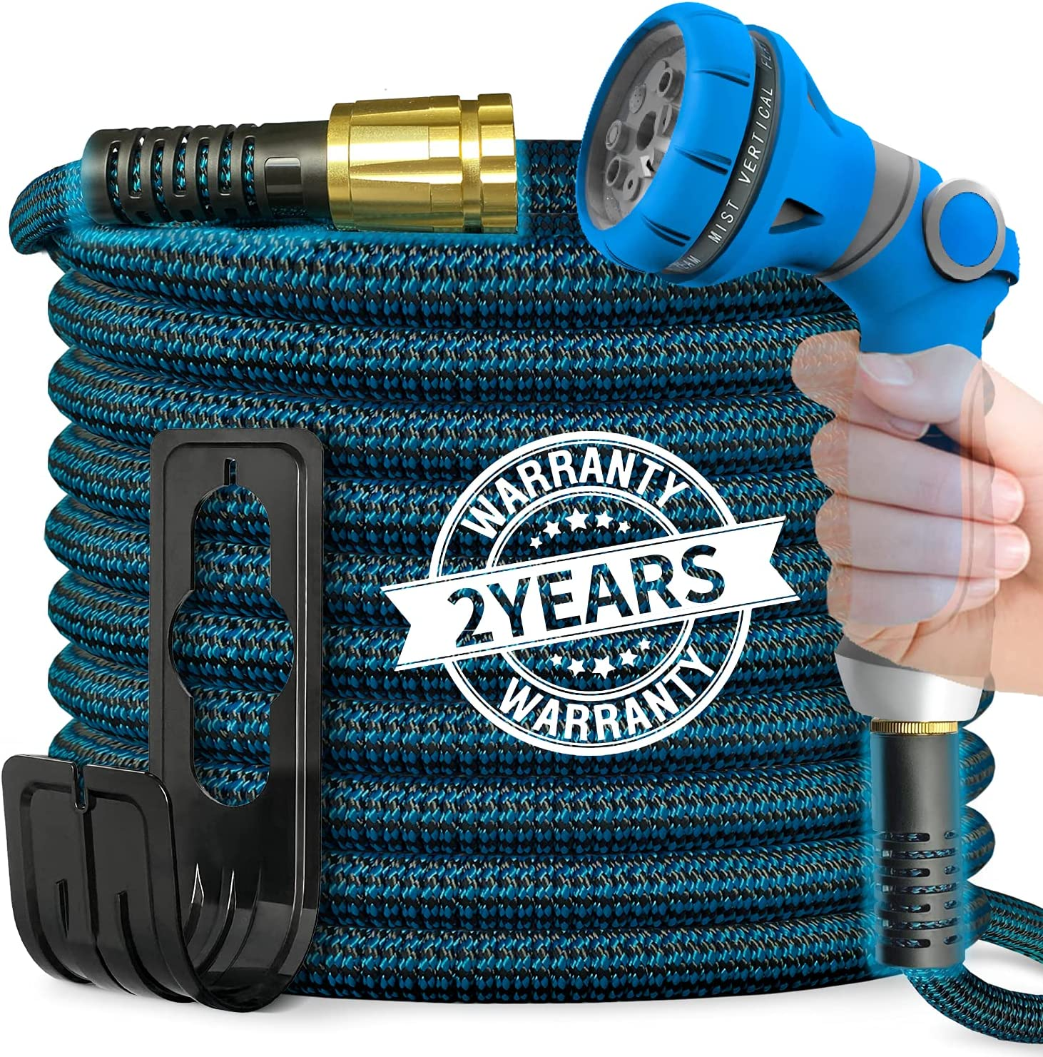 Vutzura Expandable Garden Hose 50 ft 8 Function Nozzle Water Hose 3-Layer Latex, No-Leak Kink Free Flexible Hose Brass Fittings, Durable Lightweight Collapsible Hose, Watering, Car Washing Water Pipe