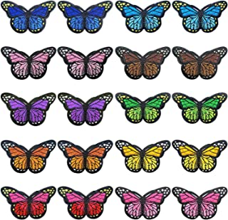 Shinesky 20 Pieces Butterfly Iron on Patches Embroidery Applique Patches for Arts Crafts