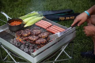 Pop-Up Fire Pit - Portable Outdoor Fire Pit and BBQ Grill - Cook with Charcoal, Wood, Or Pellets - 350sq Inches of Cooking Space (Fire Pit, Heat Shield, and Tri-Fold Grill Included)