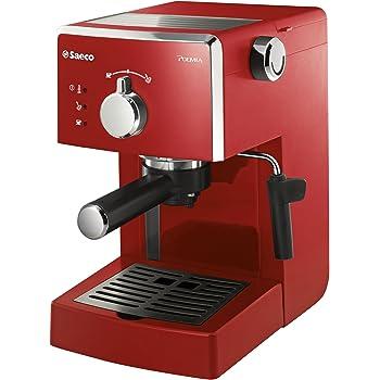 Saeco Poemia Focus HD8423/22 - Máquina de café espresso manual para café molido y monodosis E.S.E., 950 W, color rojo: Amazon.es: Hogar