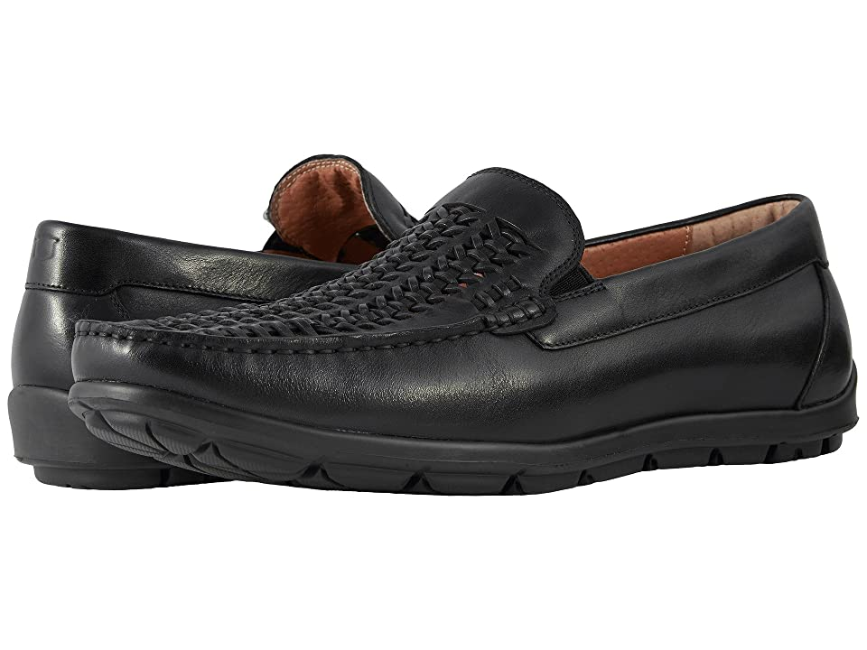 Florsheim Draft Moc Toe Woven Vamp Driver (Black Smooth) Men