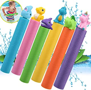 6 Pack Water Blaster Gun Set, Foam Water Squirt Guns Shooter Summer Pool Toys for Kids and Adults, Outdoor Swimming Pool B...