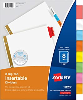 Avery 8-Tab Binder Dividers, Insertable Multicolor Big Tabs, 1 Set (11123)