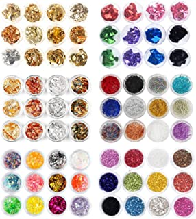 72 Boxes Nail Art Glitter Decorations Kit Foil Nail Chip,Candy Colors Sequins Sticker,Nail Art Glass Mirror Foil,Nail Caviar Gravel And Line Strips For 3D Nail Art
