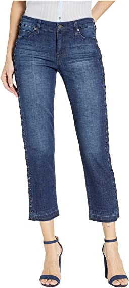 Sadie Crop Straight w/ Side Eyelet Detail in Montauk Mid Blue