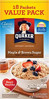 Quaker Instant Oatmeal, Maple Brown Sugar Value Pack, Breakfast Cereal, 1.51 Ounce, 18 Packets (Pack of 4)