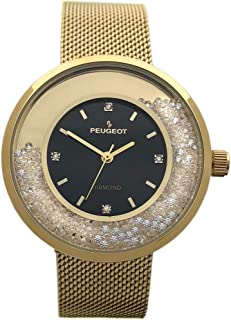 Peugeot Women's Luxury Watch, 14k Gold Plated Mesh Band with Diamond Accent Dial and Floating Genuine CZ Crystals.