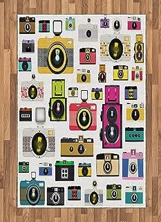 ABAKUHAUS Vintage Alfombra de Área Cámaras Fotográficas Vintage Antiguas Pasatiempo Artístico Tema Estudio Diseño Ideal para Sala de Estar o Comedor Resistente a Manchas 120 x 180 cm Multicolor