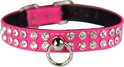 "OmniPet Majestic Crystal Pet Collar, 1/2"" x 14"", Neon Pink"