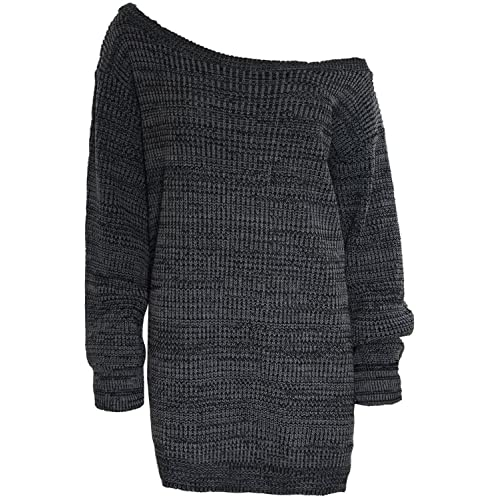9a6f263521374 Womens Ladies One Off The Shoulder Chunky Knit Knitted Oversized Tunic Sweater  Jumper Dress Plus Size