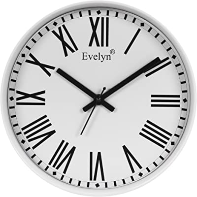 Evelyn Round Wall Clock with Glass for Home/Bedroom/Living Room/Kitchen Evc-40 (W)