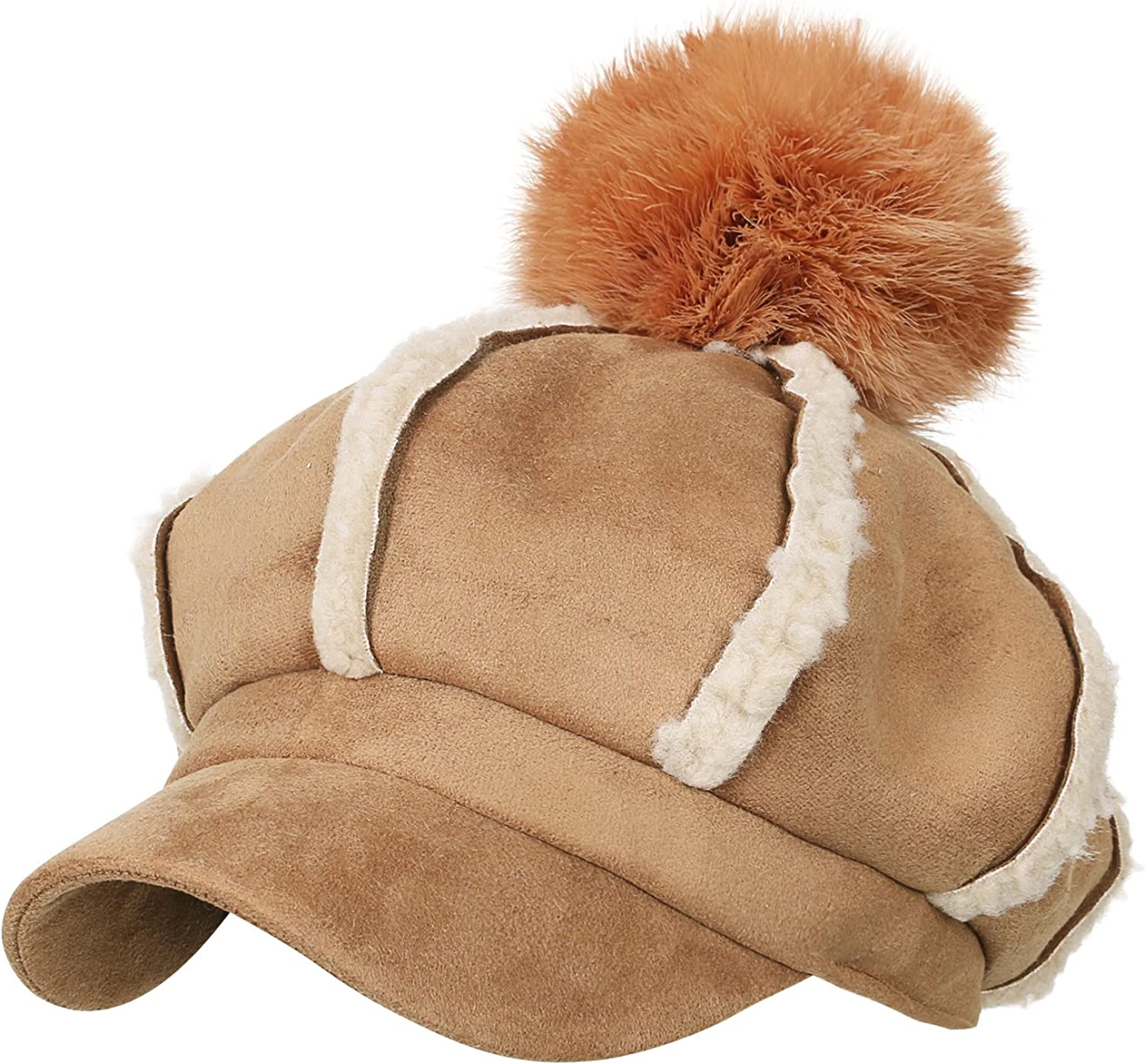 Ililily 8Pannel Solid color Newsboy Cabbie Cap Suede Duck Bill Flat Hunting Hat