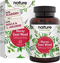 Horny Goat Weed for Women & Men 60 Capsules with Maca, Tribulus & L-Arginine - 1000 mg - Epimedium with Icariins - Stamina Boost, Energy and Perfomance