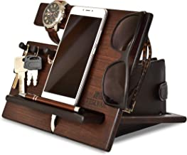 Wood Phone Docking Station Cherry Hooks Key Holder Wallet Stand Watch Organizer Varnish Men Gift Husband Wife Anniversary Dad Birthday Nightstand Purse Tablet Father Graduation Male