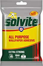 Solvite All-Purpose Wallpaper Adhesive, Reliable Adhesive for Wallpaper, All-Purpose Adhesive with Long-Lasting Results, Wallpaper Paste hangs up to 5 Rolls (1x92 g Sachet)