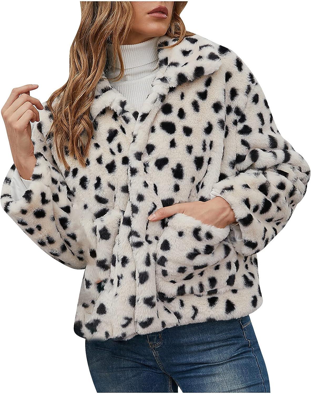 ViYW Women's Winter Warm Jacket Polka Point Print Fleece Coat Faux Fur Long Sleeve Hooded Zipper Sweatshirt Warm Tops Blouses