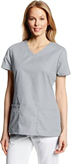 Dickies Womens Multiple Patch Pockets EDS Signature V-Neck Top with Multiple Patch Pockets Medical Scrubs Shirt - Gray - Medium