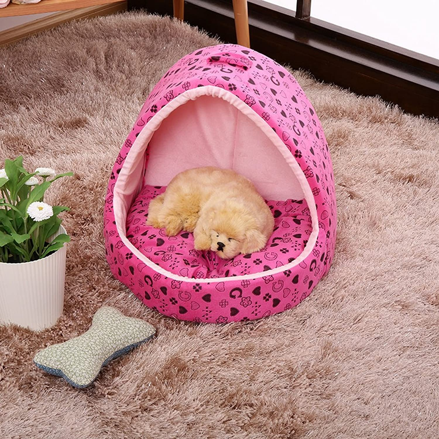 Kennel GAOLILI Dog House Cat Litter Box Winter Pet House Wash Dog House Yurt Puppy Than Bear Teddy Dog Supplies (color   A, Size   43  43  38cm)