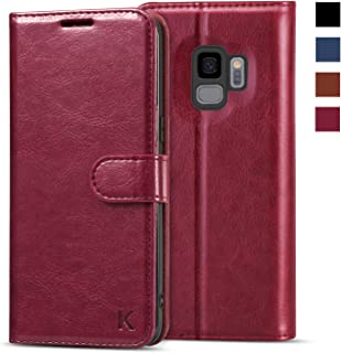 KILINO Galaxy S9 Wallet Case [Shock-Absorbent Bumper] [Card Slots] [Kickstand] [RFID Blocking] Leather Flip Case Compatible with Samsung Galaxy S9 - Burgundy