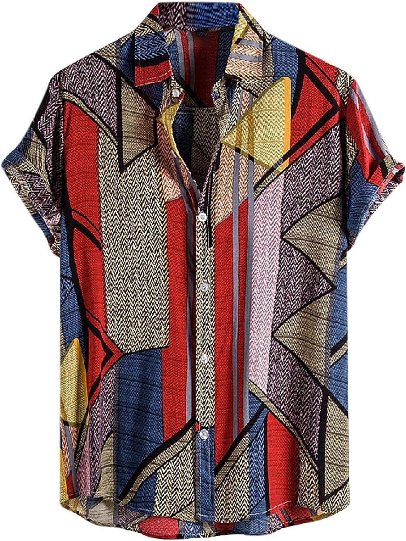 Shirt for Men's, Men's Retro Print Cotton Short Sleeve Shirt Casual Loose and Comfortable Button Down Shirt Tops