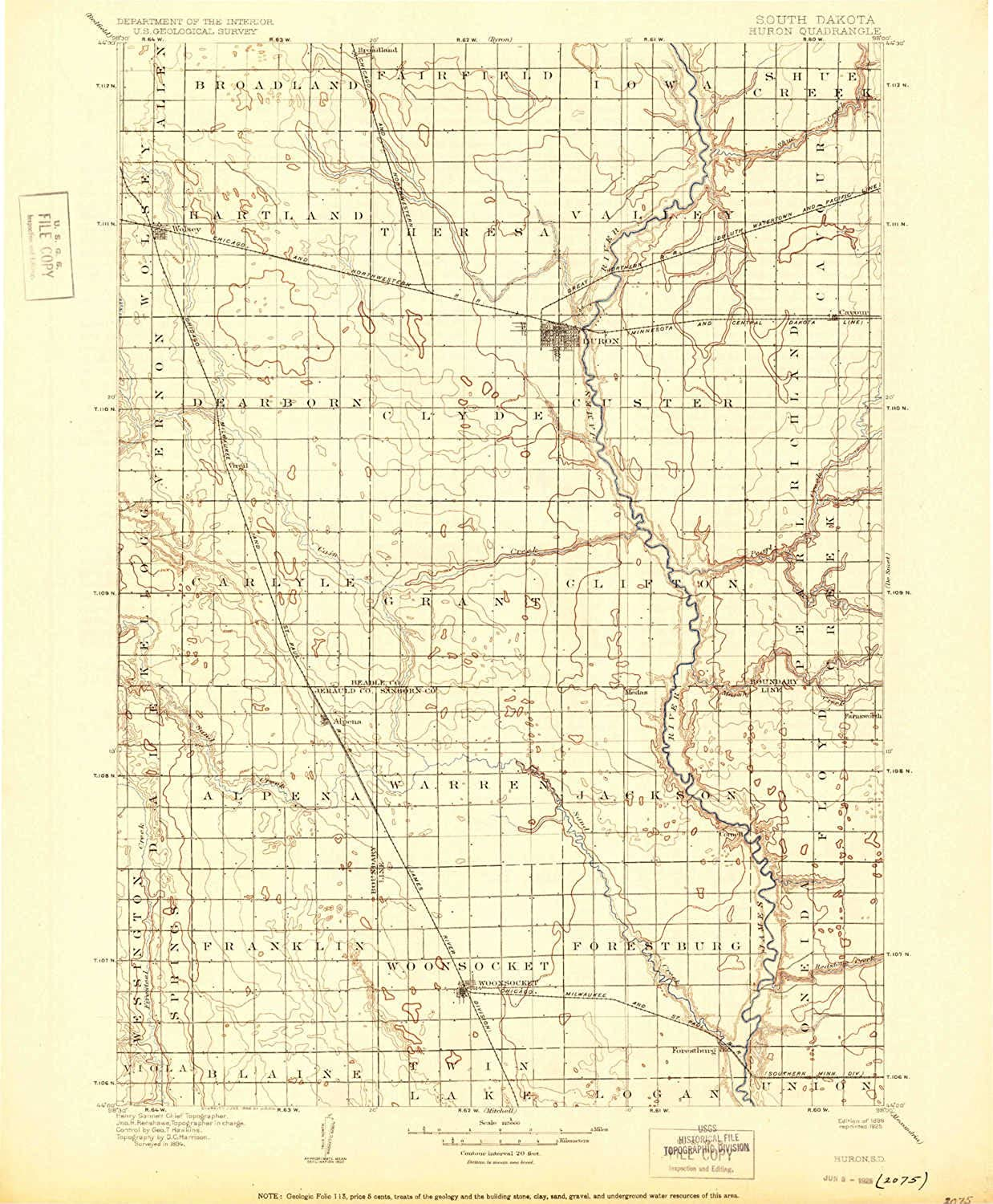 Huron SD topo map, 1 125000 Scale, 30 X 30 Minute, Historical, 1898, Updated 1925, 19.8 x 16.4 in