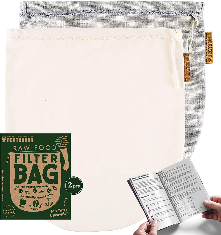 NECTARBAR Eco Nussmilchbeutel Made in Germany Mixpack Handgefertigte Filterbeutel Natur..