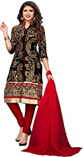 Glory Sarees Women's Semi Stitch Dress Material (salwar_suit_102_Black_Red)
