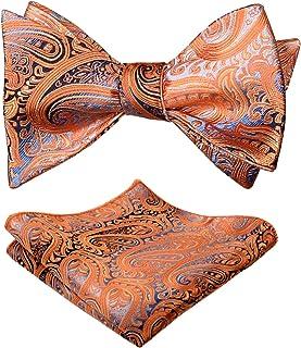 Alizeal Mens Gradient Paisley Self Bow Tie and Hanky Set, Orange