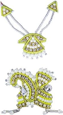 The Holy Mart Mukut Mala (White Pearl Designer Mukut Mala Set (2 Size))