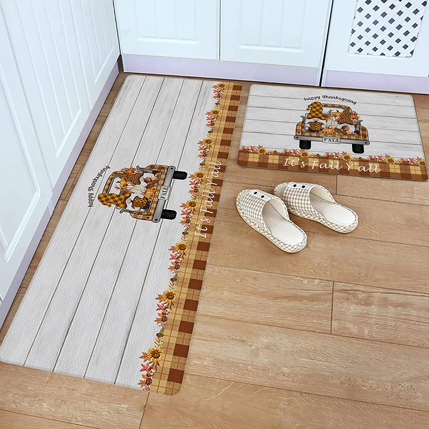 Luxury 2 Pieces Kitchen Rugs Limited time sale and Mats Set Happy T PVC Leather Floor Mat