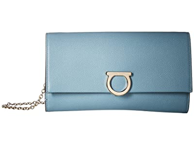 Salvatore Ferragamo Continental Wallet On Chain (Blue Haze) Handbags